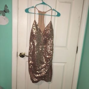 Rose gold mid length party dress
